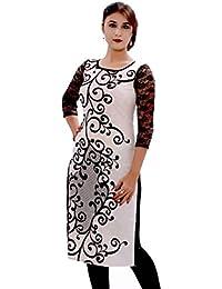 Clickedia Women's Cotton Black & White Long Kurta - 100% Cotton