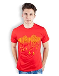 TOMO Men's Cotton Red Color Round Neck BUILDINGS & BULB Printed T-shirt