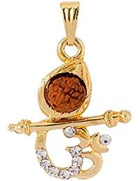 Shiva Rudraksha 100% Original Religious Rudraksh With Gold Pendant OM Pendant