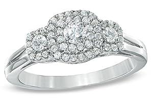 Luscious Three Stone Halo Trilogy Diamond Wedding Ring Half Carat Round Cut Diamond on Gold