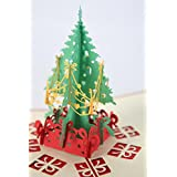 Merry Christmas Tree Vintage 3D Laser Cut Pop Up Paper Handmade Custom Greeting Cards Christmas Gifts