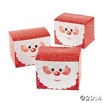 12 Cardboard Santa Gift Boxes/Christmas Treat Boxes/Holiday Gift Wrap/Party Supplies