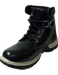 Vogue Stack Men's Black Faux Leather Boots