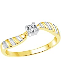 Vighnaharta Two Tone Shine CZ Gold And Rhodium Plated Alloy Finger Ring For Women And Girls - [VFJ1106FRG]