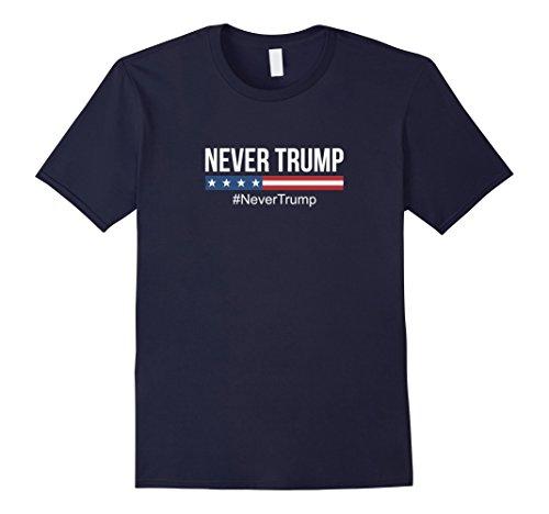 Trump and Clinton Halloween Costumes - Choose Edgy or Funny - Men's Never Trump T-shirt - #NeverTrump Navy