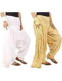 Jaipur Fashion Hub Women's Combo Pack Of Pure Solid Cotton Full Patiala Salwar And Cotton Dupatta Set