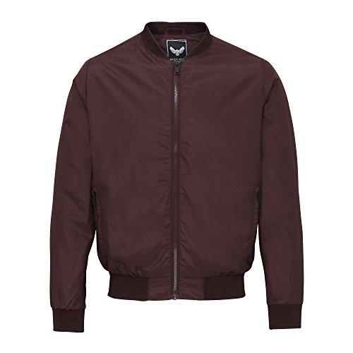 Brave Soul Mens Sanjay Classic Full Zip Bomber Jacket (Burgundy)