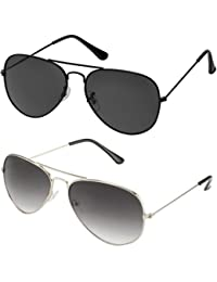 SHEOMY GOGALS FOR BOYS - COMBO OF STYLISH BLACK AVIATOR AND SILVER GREY AVIATOR SUNGLASSES WITH 2 BOXES