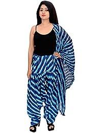 Fashion Store Women Printed Solid Cotton Full Multi-Coloured Patiala Salwar Dupatta Set(Free Size,Blue) - B074TGQWNL