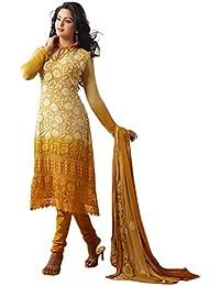 Fliponn Cream & Orange Colored Chiffon With Karachi Work Embroidery Party Wear Semi-Stitched Salwar Suit-FNJ338DL1418