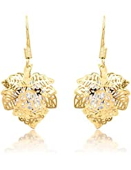 BIG Tree 18K Gold Plated Maple Leaf CZ Diamond Earring For Women.