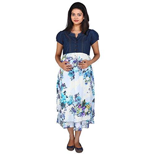 Momtobe Blue Denim Flower Print Maternity Dress