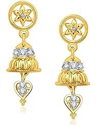 VK Jewels Circular Gold And Rhodium Plated Jhumki For Women -ER1207G [VKER1207G]