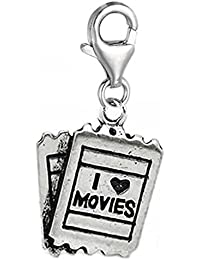 Clip On I Love Movies Charm Dangle Charm Pendant For European Clip On Charm Jewelry W/ Lobster Clasp