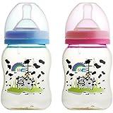 Basilic BPA Free PES Anti Colic Wide Neck Feeding Bottle, 7 Ounce (pack Of 2)