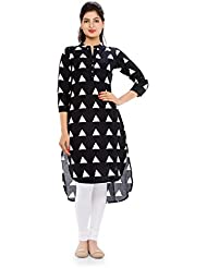 Naksh Jaipur Long Short Triangle Print Stand Collared Kurta