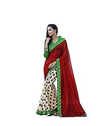 Status Red & Off White Color Printed Saree On Bhagalpuri Silk Fabric. - B00O28Q0QY