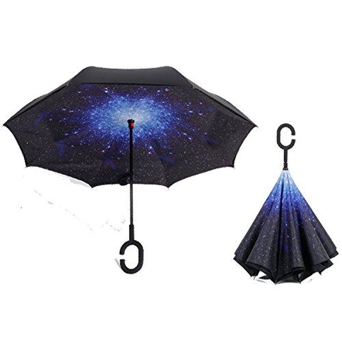 RAIN QUEEN Parapluie Canne Ouverture Inversé Double Toile Imprimé +C Poignée Grand Taille Dimension 110cm pour 2 personnes (Etoile)
