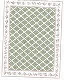 Dollhouse Green Bows Floor Cloth - Dollhouse Miniature