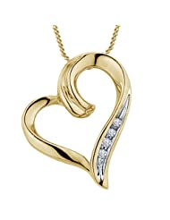 "Vorra Fashion Round Cut White CZ Platinum Plated 925 Sterling Silver Wonderful Heart Pendant With 18"" Chain"