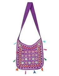 Rajrang Indian Designs Cotton Embroidered Circles Purple Sling Bag - B015PUU8P6