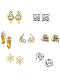 Kaizer Jewelry American Diamond Gold Plated Hoop Stud Earrings For Women & Girls, Combo Of 7 : Best Valentine...