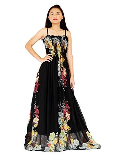 MayriDress Women's Maxi Dress Long Black Floral Plus Size Clothing 3X