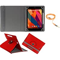 Gadget Decor (TM) PU LEATHER Rotating 360° Flip Case Cover With Stand For Asus K012 + Free Aux Cable -Red