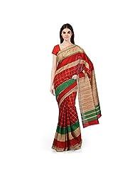 Janasya Women's Multi Colour Bhagalpuri Silk Printed Saree