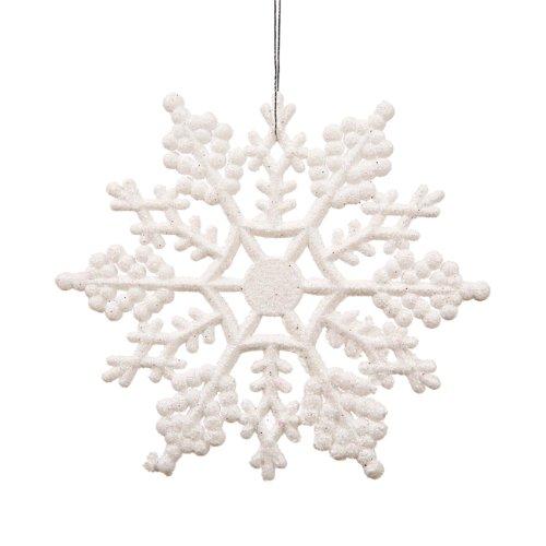 Vickerman Plastic Glitter Snowflake, 4-Inch, White, 24 Per Box