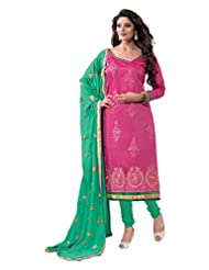 Chanderi Long Straight Top With Cotton Bottom And Pure Heavy Work - B0191QRW6I