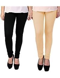 BrandTrendz Black And Peach Cotton Pack Of 2 Leggings