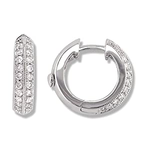 050 Carat White Diamond Ladies Huggies Hoop Earrings
