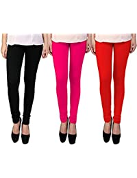Snoogg Womens Ethnic Chic Inspired Churidar Leggings In Black, Pink And Red