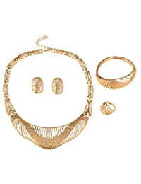 Young & Forever Gold Plated Filigree Designer Necklace Earrings Rings And Bracelet Set For Women By CrazeeMania