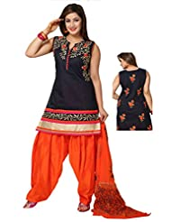 Ritu Creation Women's New Silk Stitched Patyala Suit With Front&Back Embroided Work(Navy Blue)
