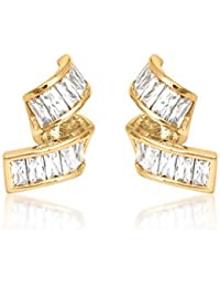 BIG Tree 18K Gold Plated Twisted CZ Diamond Earring For Women.