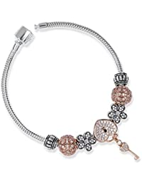 CharmsDay Girls Ready To Wear Silver & Rose Gold Secret Garden Bracelet With Assorted Charms In 925 Silver