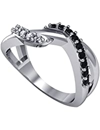 Suvam Jewels Black-white Gemstone White Gold Plated 92.5 Sterling Silver Ring