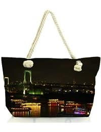Snoogg City At Night Women Anchor Messenger Handbag Shoulder Bag Lady Tote Beach Bags Blue