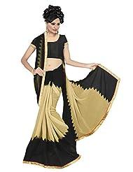 Gini Gold Women's Designer Pure Chiffon Saree   Beige/Black  