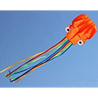 AOBOR Kite-Beautiful Large Easy Flyer Kite For Kids - Nylon Cloth 4m Power Red Head And Colorful Tail Octopus...