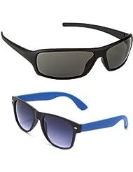 New Stylish UV Protected Combo Pack Of Sunglasses For Women / Girl ( BlackWrap-RoyalblueWayfarer ) ( CM-SUN-031 )