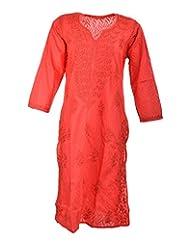 Naurati Exports Women's Cotton Straight Kurta (nau#05, Red, X-Large)