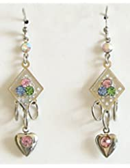 Multicolor Stone Studded Dangle Earrings - Stone And Metal