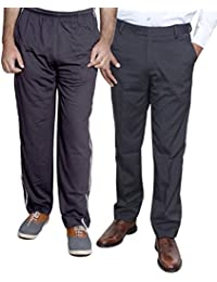 Indistar Mens Formal Trousers With Men's Premium Cotton Lower (Length Size -38) With 1 Zipper Pocket And 1 Open Pocket (Pack Of -1 Lower With 1 Trouser) - B01GEIMUHW