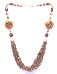 V3 Craft's Glass And Resin Necklace With Multi-strand Seed Beads For Women - B00FYMRSZ4