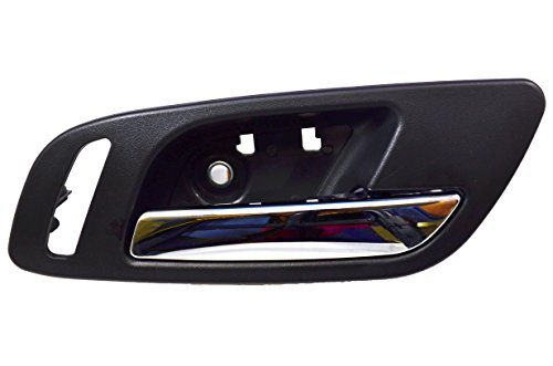 PT Auto Warehouse GM-2546MA-FR – Inside Interior Inner Door Handle, Black (Ebony) Housing with Chrome Lever – with Heated Seat Hole, Passenger Side Front