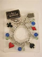Disney Red Queen Key Ring Bracelet - with Card Symbols and Heart Padlock (Red)