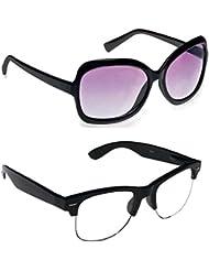 New Stylish UV Protected Combo Pack Of Sunglasses For Women / Girl ( BlackButterfly-ClearHFWayfarer ) ( CM-SUN...
